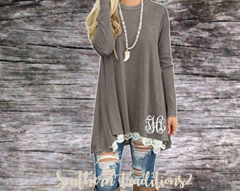Monogram Pullover Tunic - Ladies Monogrammed Pullover - Women's Gray Lace Sweatshirt