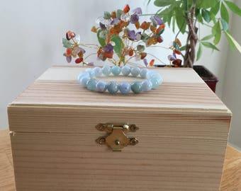 "Handmade Genuine Aquamarine Bracelet, Natural Blue Aquamarine Gemstone Stretch 7"" Bracelet, Meditation, Stress, Anxiety,Healing Bracelet"