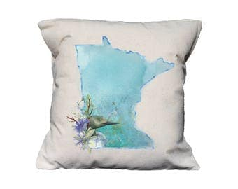 MN Watercolor Floral State Pillow   Cotton Canvas Pillow   Pillow Form Included