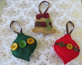 Set of Three Handsewn Felt Ornaments with Bell and Buttons