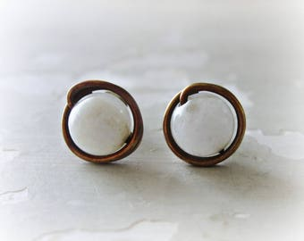 Brass Earrings, White Agate Studs, Stone Stud Earrings, Patina Stud Earrings, Raw Brass Studs, Oxidized Stud Earrings, White Stud Earrings