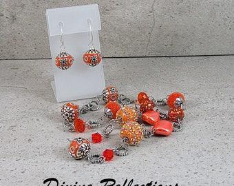 Orange Designer Bead Necklace and Earring Set, Designer Jesse James Beads