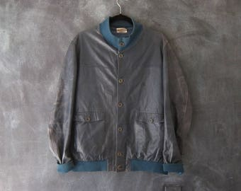 90s Bomber Jacket Blue Distressed Leather Buttery Soft Navy Modern Minimal Jacket Mens Size M, Ladies L