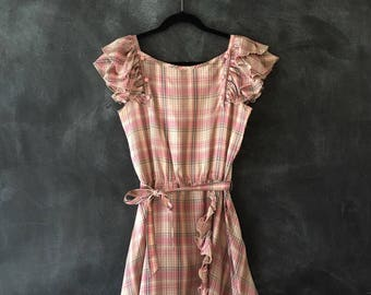 80s 70s Valentino Dress Silk Taffeta Pink Plaid Ruffles Midi Wrap High Waisted Designer Italian Dress Ladies Size 44 US 6/8