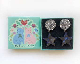 Small Marbled Dangle Stud Earrings - Marbled Star and Moon earrings Navy with Silver Stars