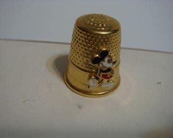 Mickey Mouse Thimble Walt Disney Productions Gold Tone