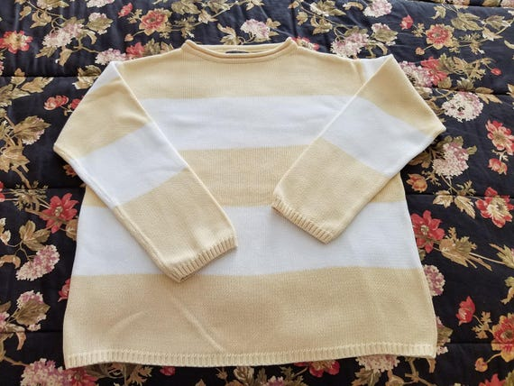 Ladies Sweater - 100% Cotton Knitted Sweater - Bulky Heavy Knit - Yellow and White Stripe Front and Back Size L