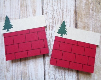 Christmas Place Cards Farmhouse Country Cabin Holiday Table Seating Name Card Chimney Pine Tree Mini Cards Gift Tag