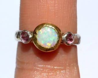 Opal Ring-Gold and Silver Ring-White Opal Pink Topaz Ring-Stackable Ring-Fire Opal Ring- 24k Gold-Opal Engagement Ring-Pink Topaz-Pink Ring.
