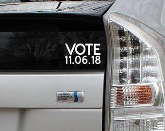 Vote November 2018 Elections Vinyl Decal Die Cut Rub-On Sticker Bumper Political Liberal Car Laptop