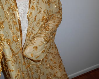 GOLD SiLK BEADED COAT Bright Very HEAVily Beaded  Bohemian Lux One size fits most on Gold silk gold lined beaded and trimmed in beads 1970s
