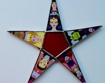 Strong Woman Star- Wonder Woman, Dorothy of Oz, Bat Woman, etc. 8 inch star