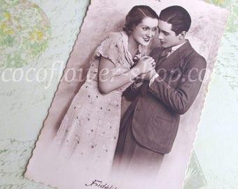 vintage love card - wedding vintage invitations diy - save the date postcard - illustration for scrapbooking
