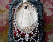 Antique French Black Madonna Altar, Antique Devotional Noir Assemblage, by RusticGypsyCreations