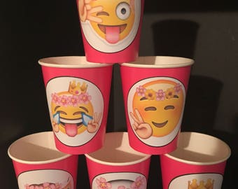 12 Apple iPhone Emojis Smiley Faces Birthday Party Paper Cups | 9 ounces