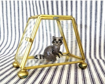 Yearly Big Sale: Vintage Metal and Glass Curio Box, Trapezoid Glass Display Container with Gold Tone Brass Frame, Terrarium Miniature