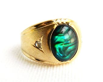 Vintage 14K Gold Plated Green Marbled Art Glass Mens Ring - Brushed Gold - Faux Abalone - Mid Century 1950s - Size 9 - Signed CLARK COOMBS