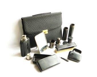 Vintage Black Textured Leather Travel Case Men's Vanity Shaving Grooming Toiletry Bag Dopp Kit Monogrammed Signed TRADEMARK Made In Germany