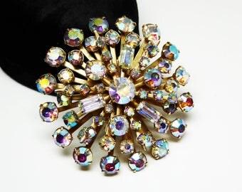 Aurora Borealis Rhinestone Brooch - Vintage 1950s Burst of AB Rhinestones - Rivet Style Gold Tone Setting - Mid Century Atomic Jewelry