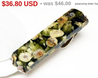 Spring Fling Sale Black and Green Tie Clip - Sterling Silver and Gemstone -  Shades of Green Tie Bar - 1940s - 1950s Mens Mid Century Vin...