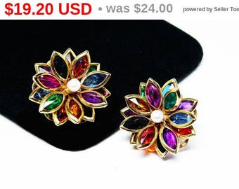 Multi Colored Flower Earrings - Layered Flowers - Clip on Earrings - Faux Pearl Center Bead - Bezel Set Marquis Rhinestones - Vintage 1980's