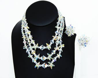 Aurora Borealis Crystal Glass Necklace & Earrings - Triple Multi Strand Faceted Glass Beaded Demi Parure Set -  Vintage 19940s 1950s 1960s