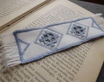 Hardanger Blue and White Bookmark