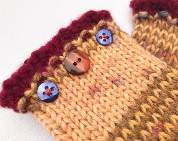 Fingerless Gloves - Cinnamon Frilly Fingers - Fingerless Wristwarmers - light brown fingerless mittens - brown fingerless gloves for ladies