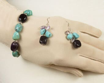 Bracelet and earring set Turquoise and purple quartz Sterling silver spacer beads Pierced earrings Fishhooks Excellent condition