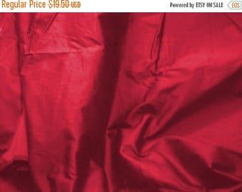CIJ SALE red silk dupioni fabric - dark red 100% pure silk - 1 yard sld150