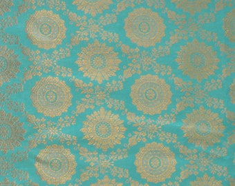 banaras fabric, brocade by the yard, sari blouse fabric, indian brocade fabric, gold brocade, banarasi brocade - 1 yard - br146