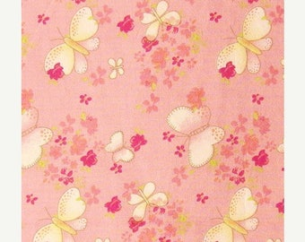 ON SALE Cotton Fabric By The Yard - Floral and Butterfly Print on Light Pink - 1 yard - ctnp256