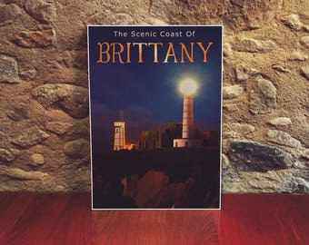 Brittany 12x18 Poster Art Print France Lighthouse Art Print Night Sky Art Coastal Art Lighthouse At Night
