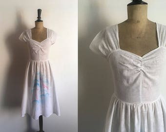 Robe blanche d retro en coton
