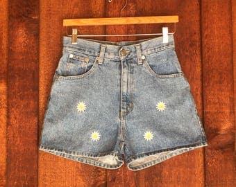 Vintage 1990s High Waist DAISY Denim Shorts • Flower Power Denim Shorts