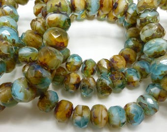 100 Czech Glass Fire Polished Roundel Beads in Turquoise and Browns with Picasso finish  5x7mm Size