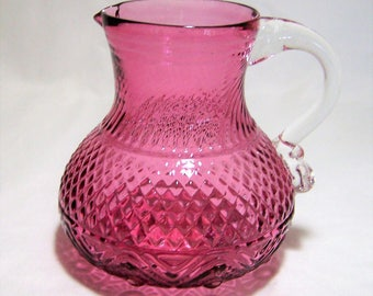Pink Cranberry Mold Blown Art Glass Syrup Pitcher, 1800s  Reproduction Piece, Vintage EAPG, Anglo Irish, Diamond Stardust Pattern  317