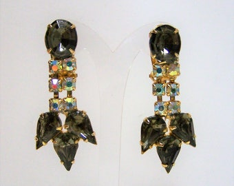 Grey Crystal Rhinestone Dangling Earrings,  Aurora Borealis Glass Stones, Gold Tone, Clip On Style, 218