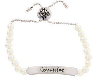 White Pearl Child's Bracelet with Sentiment Bar