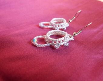 Beadwoven earrings, white opal