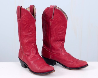 90's Red Leather Cowboy Cowgirl Boots Durango Women's Size 8 Men's Size 6.5