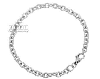 Wholesale 10 316L Stainless Steel 4x5mm Oval Link Chain Bracelet Blanks end with lobster calsp available in 18cm/ 19cm/ 20cm/ 21cm- QL034