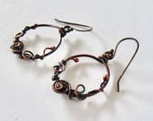 Copper Hoop Earrings - Swirled Copper Hoops - Wire Wrapped Hoop Earrings - Medium Length Hoop Earrings