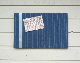 Upholstered Pin Board in striped Navy and silver Linen, accented with silver satin ribbon, pinstripe memo board, office decor,