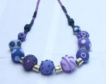 Elegant beaded necklace in purple, polymer clay millefiori