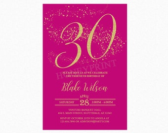 Milestone Birthday Party Invitation, Fuchsia, Gold Glitter, 18th, 21st, 30th, Any Age, Personalized, Printable or Printed