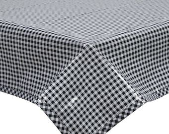 Square Oilcloth Tablecloth Black Gingham with Black Gingham Trim