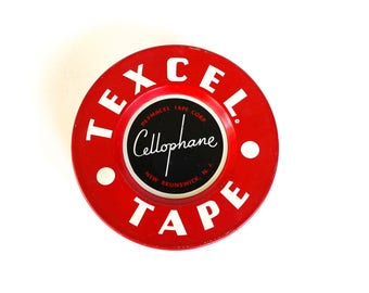 Vintage 1950's Texcel Tape Decorative Metal Tin!