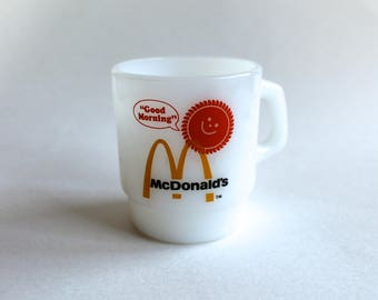 Vintage 1970's Fire King McDonald's Good Morning Milk Glass Mug! Groovy!