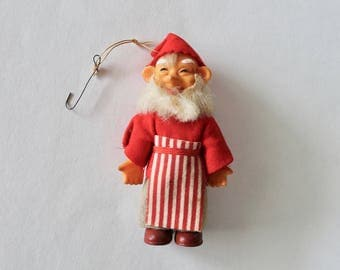 Vintage 1950's Santa's Workshop Elf Ornament- Mid Century Christmas!